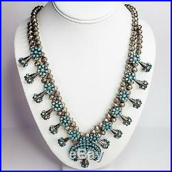 Zuni Vintage Sterling Silver and Turquoise Snake Eye Squash Blossom Necklace
