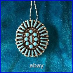 Zuni cluster necklace / brooch pin sterling silver turquoise needlepoint Vintage